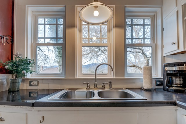 Kitchen Sink with Triple Windows